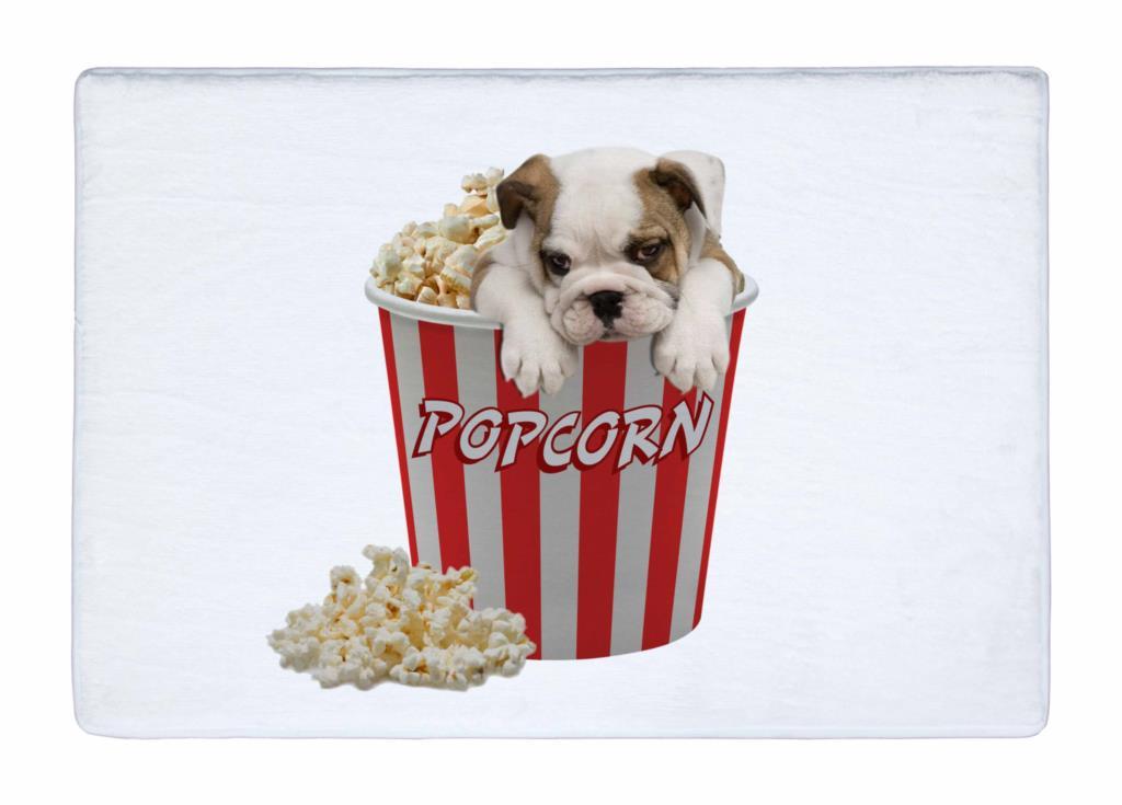 Floor Mat White Dot Cute bulldog in Popcorn Bucket Print Non slip Rugs Carpets alfombra For