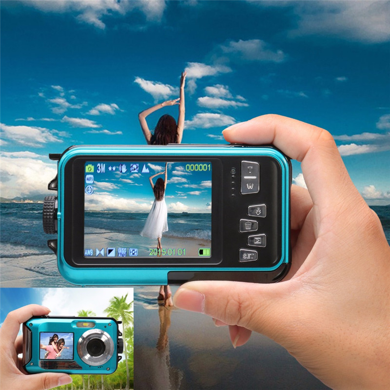 Centechia New 2.7 inch TFT Digital Camera video Waterproof 24MP MAX 1080P CMOS Double Screen 16x Digital Zoom Camcorder 5 0mp cmos digital video camcorder w 4x digital zoom usb av sd red 2 4 tft lcd