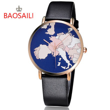 BAOSAILI New Top Brand The World Map Pattern Charming Fancy  Simple Cartoon Pattern Gold Plating Leather Quartz Watch BS1015