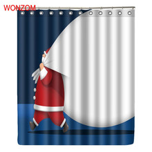 WONZOM Polyester Santa Claus Curtains Bathroom With 12 Hooks Waterproof Accessories For Decor Modern Christmas Bath Curtain Gift christmas santa claus waterproof bath shower curtain