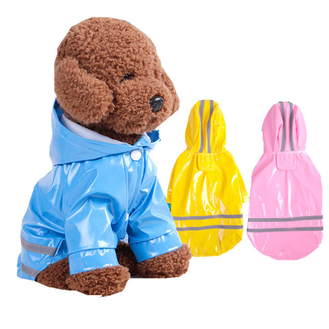 Pet Clothes Dog Raincoats PU Reflective With cap Windproof Puppy Cat Clothing Small Dog costume Pet Accessories Supplies product