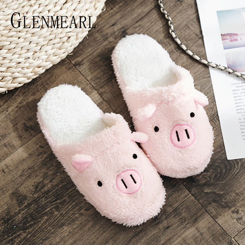купить Women Slippers Winter Shoes Soft Pig Home Slippers Slip On Animal Woman Indoor Shoes Flats Non-slip Pink Female Warm Shoe 2018DE онлайн
