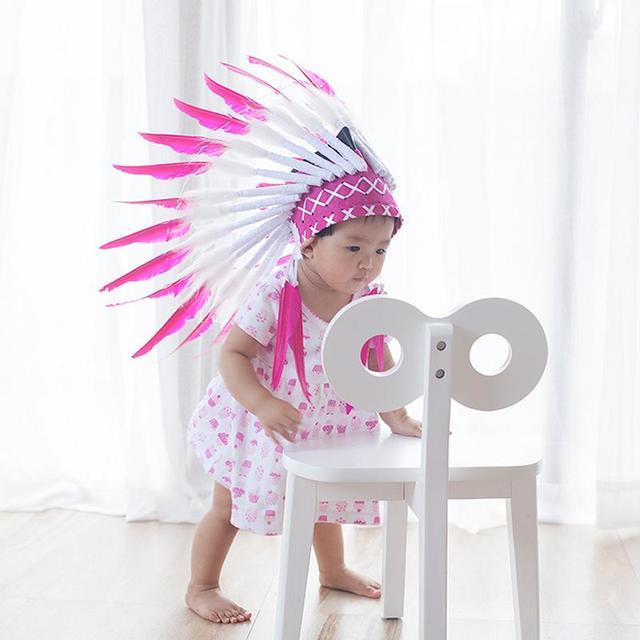 b0e3e2919 2 color Indian feather Headdress Native American headdress indian feather  costumes War Bonnet Hat indian headdress for baby kid