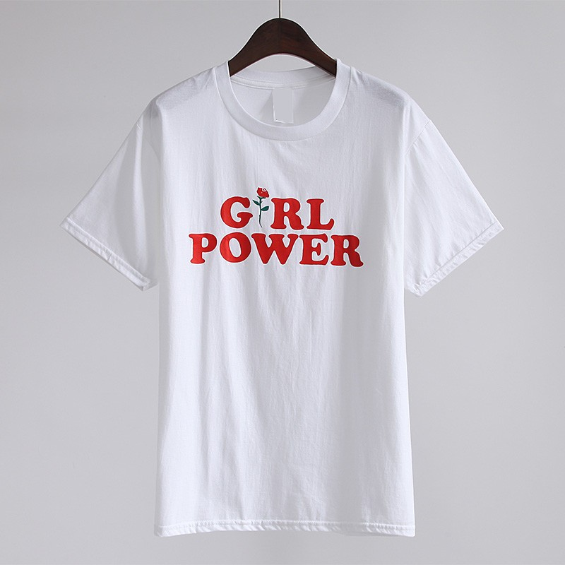 HTB1BjyWOVXXXXcXapXXq6xXFXXX8 - New Fashion Cotton T-shirt Women Girl Power T Shirt