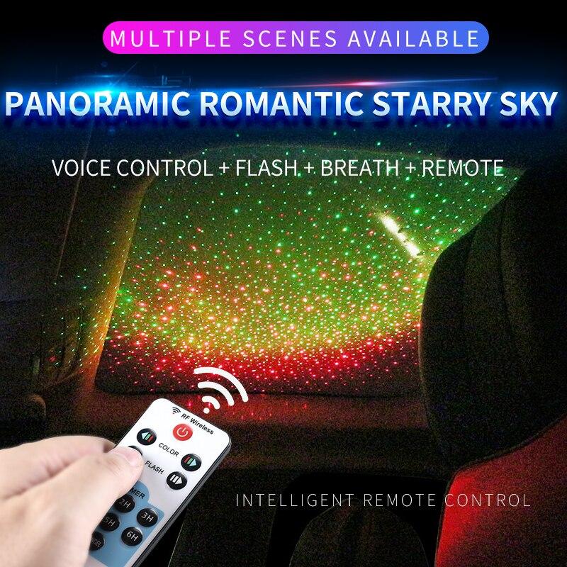 Voiture Ambiante Étoiles Plafonnier Voix Télécommande USB Universel Nuit Romantique DIY Styling De Voiture Pour Audi Bmw Ford KIA toyota