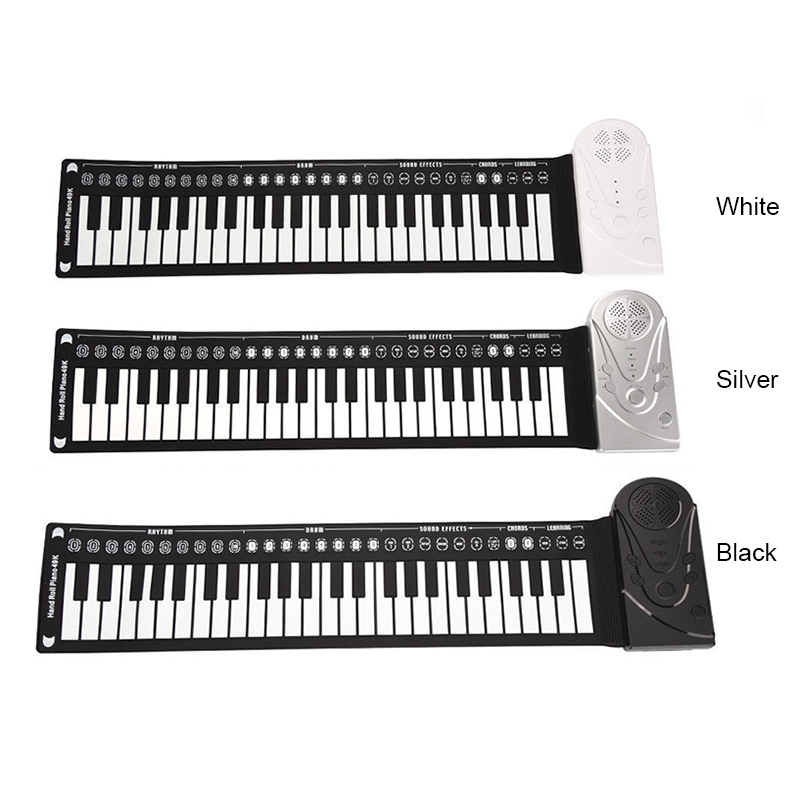 Portable Flexible Digital Keyboard Piano 49 Keys Tones Rhythms Electronic Roll Up Piano Toys FI-19ING