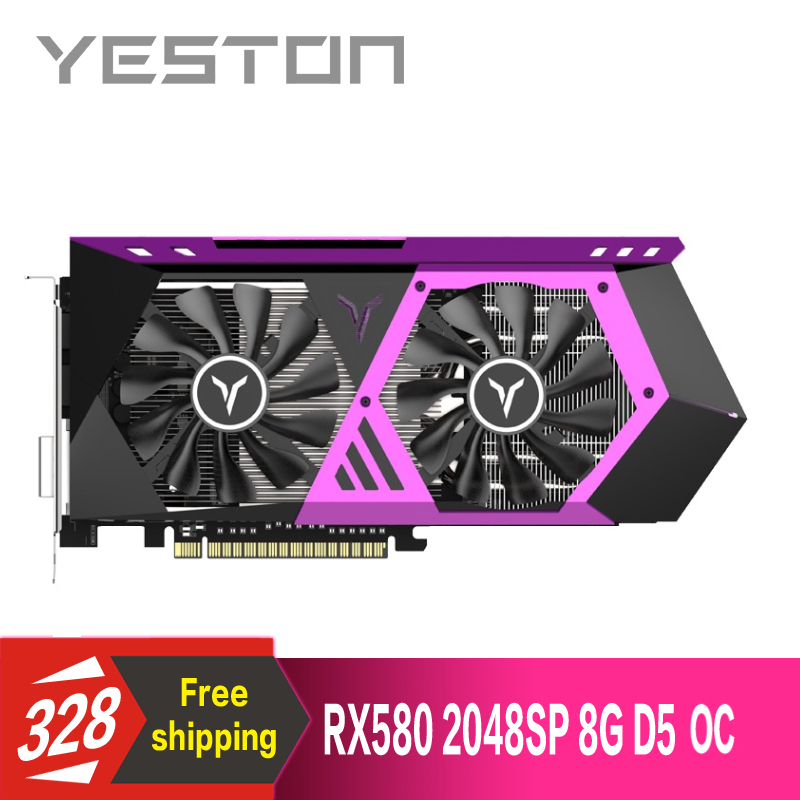 Yeston Radeon RX580 2048SP 8G GDDR5 OC 256bit PCI Express x16 3.0 video gaming scheda grafica DVI + HDMI + 3 * DP per desktop-in Schede grafiche da Computer e ufficio su  Gruppo 1