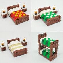Casa da Cidade DIY Acessórios Bloco de Tijolo Figuras Modelo Cama Peças de Tijolos de Blocos de Construção Compatíveis com LegoINGlys