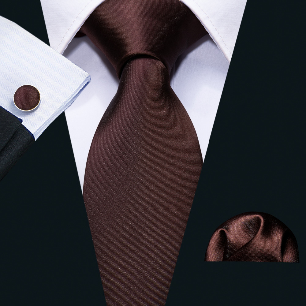 Male Gift Tie Set Fashion Designer 100% Silk Brown Solid Wedding Ties For Men Wedding Business Barry.Wang Woven Neckwear FA-5110