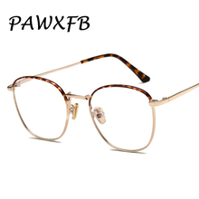 PAWXFB New Woman Glasses Optical Frames Alloy Oval Frame Clear lens Eyewear Black Silver Gold Spectacles