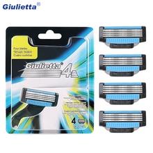 Giulietta бритвенное лезвие 4 шт./партия лезвие для лица 4 слоя лезвия для бритья лица бритва мужской костюм Mach 3 GF-0274