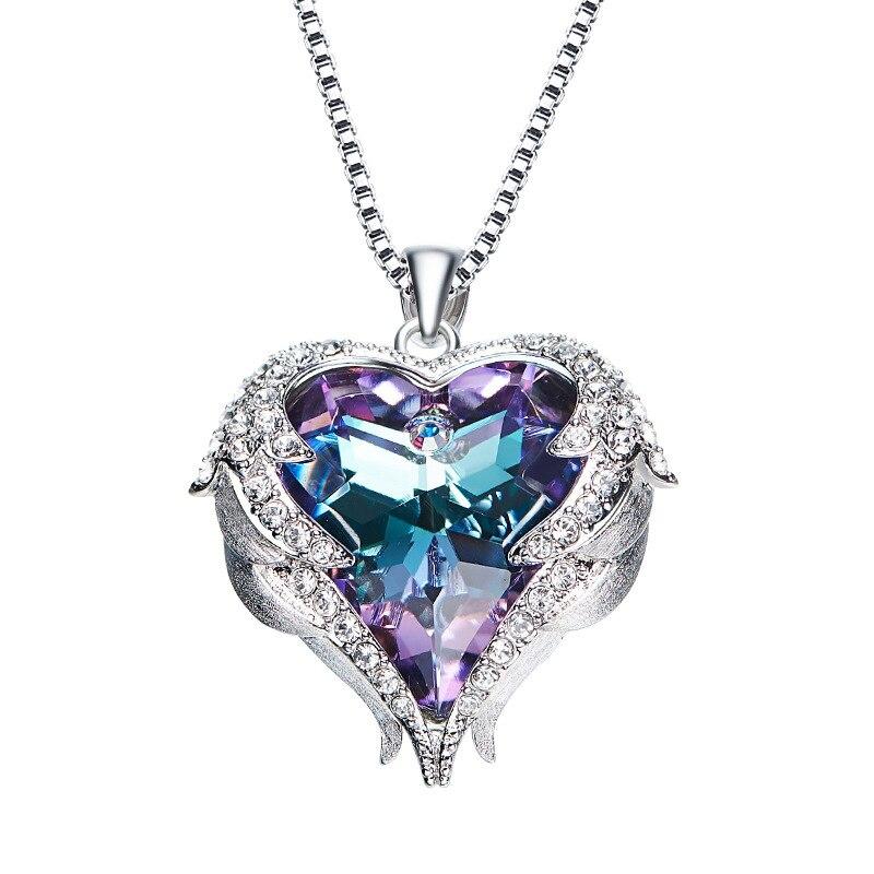 Collar de plata esterlina personalidad párrafo Simple Aurora collar de mujer de cristal austriaco Plaza Cadena de clavícula LC250067