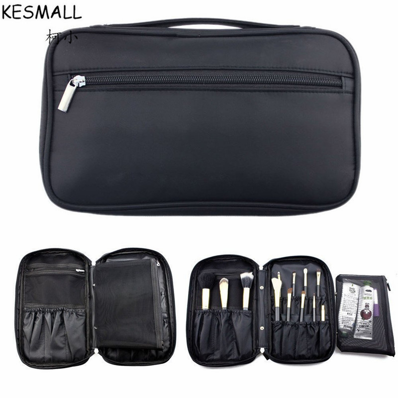 все цены на KESMALL Faux Leather Makeup Brushes Holder Bag Portable Make up Brush Organizer Cosmetic Tools Case With Zipper Pouch CO407 онлайн