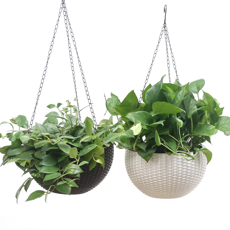 Hanging Basket Rattan Flower Pot Round Garden Planting Tools chain Holder Hook