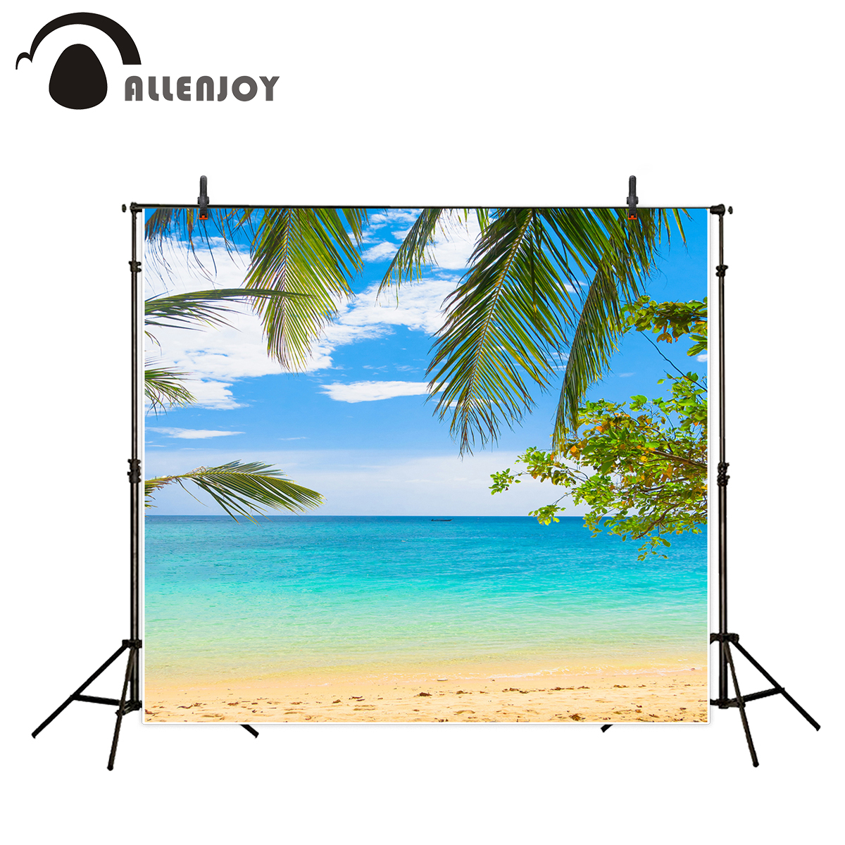 Allenjoy vacational photocall photo backdrop fabric beach natual scenery tree free wedding background photography photographer