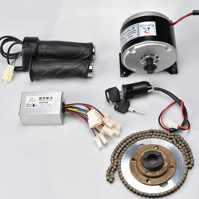 24V 250W DC Motor Brushed Controller Electric Bicycle Conversion Kit, Chain Twist Throttle Switch, Electric Scooter Bike Engine