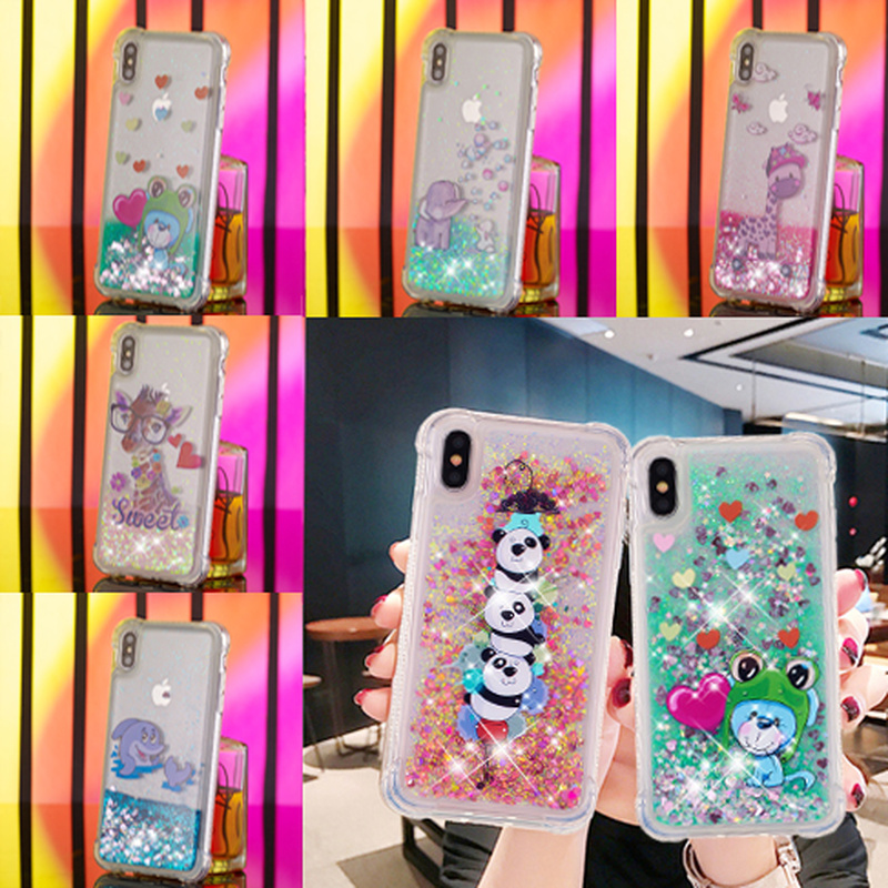 Liquid Case For Sansung Galaxy A3 A5 A6 A7 A8 S5 S6 S7 S8 S9 Edge Plus 2016 2017 2018 Note8 Cartoon Panda Soft Silicone Cover