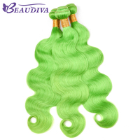 BEAU DIVA Body Wave Hair Bundles Peruvian Human Hair Bundles Green Yellow 4 Piece Bundles 10 26 inch Remy Hair Free Shipping