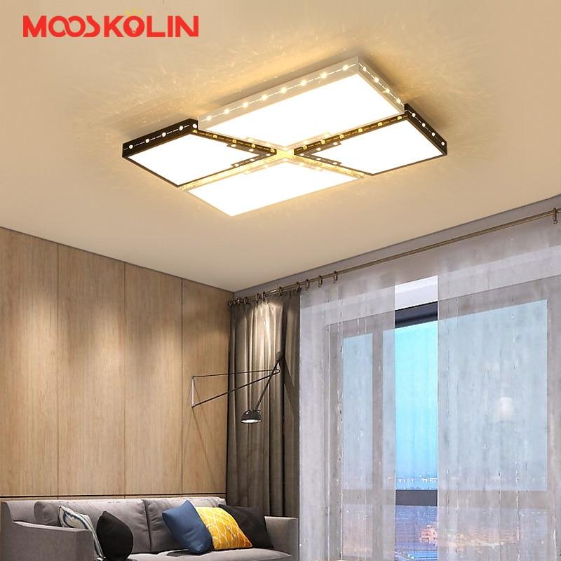 Minimalist White/Black modern led ceiling lights for living room bedroom study room square led home indoor ceiling lamp Fixture
