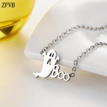 ZFVB Halloween Decoration Ghost Boo Cute Pendant Necklace Short Clavicle Chain Stainless steel Fashion Women Necklace Jewelry(China)