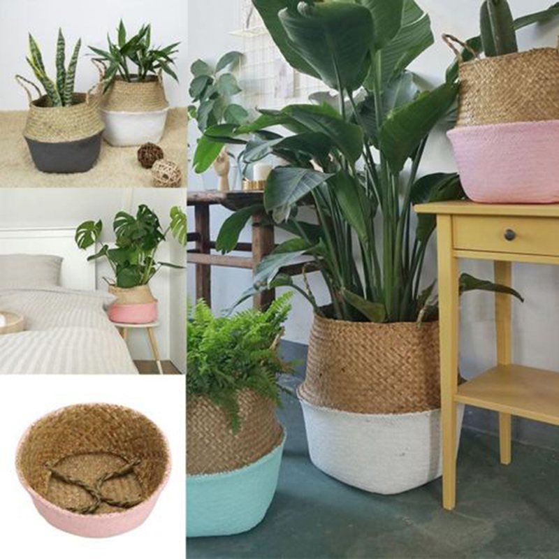 12x16x15cm Storage Basket Foldable Laundry Straw Patchwork Wicker Rattan Belly Garden Flower Pot Planter Handmade Basket