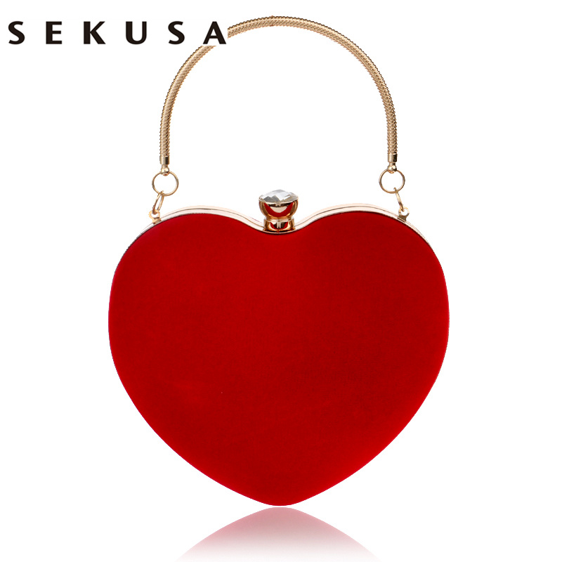 SEKUSA Heart Shaped Diamonds Women Evening Bags Red/Black Chain Shoulder Purse Day Clutches Evening  Bags For Party Wedding sekusa flower rhinestones women handbags red black purple gold chain shoulder bags metal day clutches purse wedding wallets