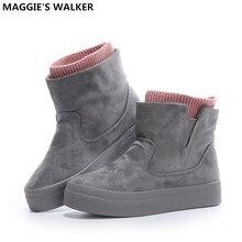 Maggie Walker Damenmode Flock Schnee Stiefel Hohe Plattform Slip-on Winter Freizeitschuhe Warme Stiefeletten größe 35-39