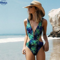 HBKN One Piece Swimsuit Print Monokini Swimsuit High Cut V Neck Swim Wear Bathers Swimming Suit