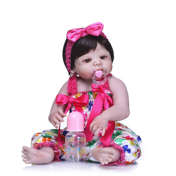 Nicery 22inch 55cm Bebe Reborn Doll Hard Silicone Boy Girl Toy Reborn Baby Doll Gift for Child Flower Jumpsuit Baby Doll