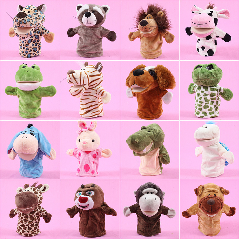 25cm Cute Animal Hand Puppets toys Tiger Monkey Dog Rabbit animal plush doll Educational puppets For Childrens Gift