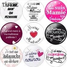 TAFREE – Je Suis une maman Qui démange 25mm, Cabochon dôme, Merci maîtresse, breloques pour collier broche