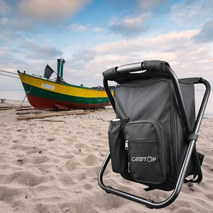 Image 3 - Hot Sale Backpack Chair Portable Camping Stool Foldable Chair with Double Layer Oxford Fabric Cooler Bag for Fishing Camping H