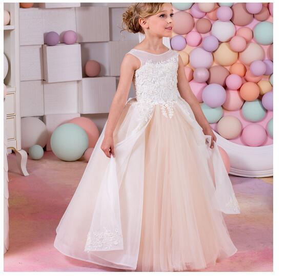 Girl's Long Formal Dress 2017 Sleeveless Girls Princess Dresses Kids Lace Perspective Gauze Party Gowns Children's Wedding Dress long criss cross open back formal party dress