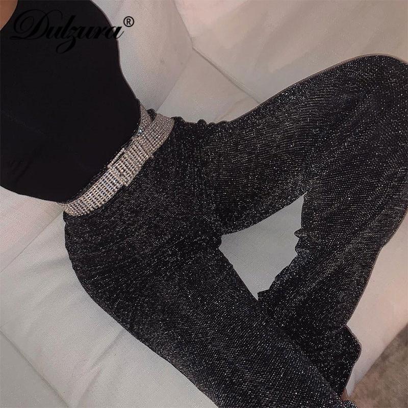 Dulzura women pants solid glitter sparkle bling trousers 2019 autumn winter fashion office lady black wide