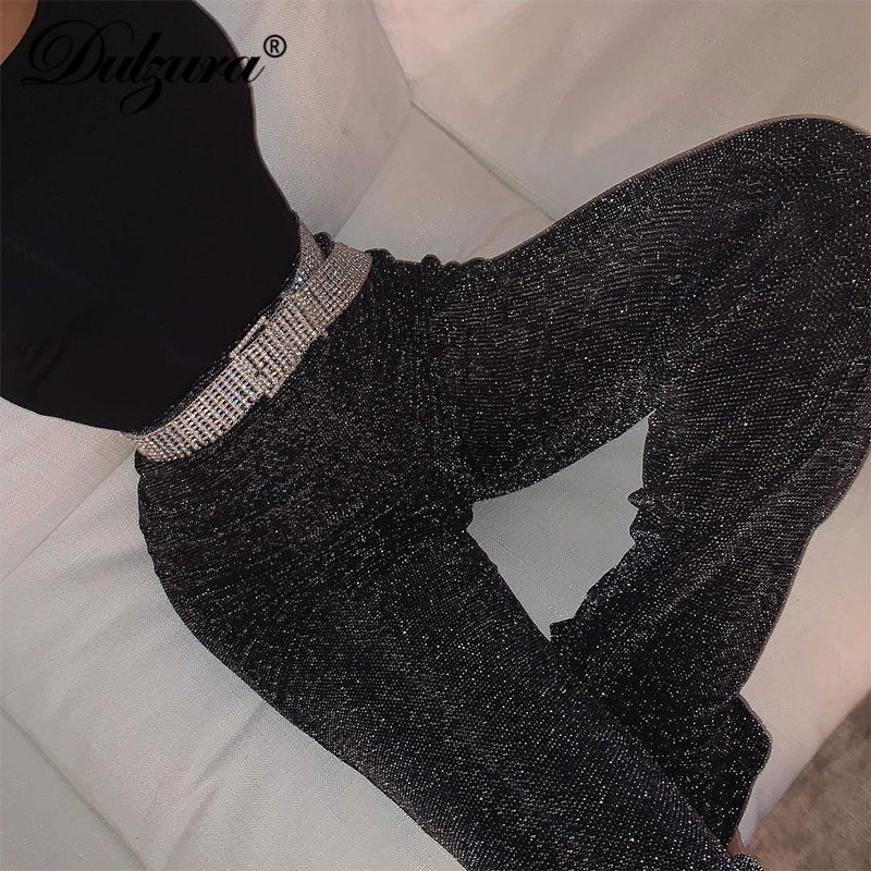 Dulzura women pants solid glitter sparkle bling trousers 2019 autumn winter fashion office lady black wide leg pants