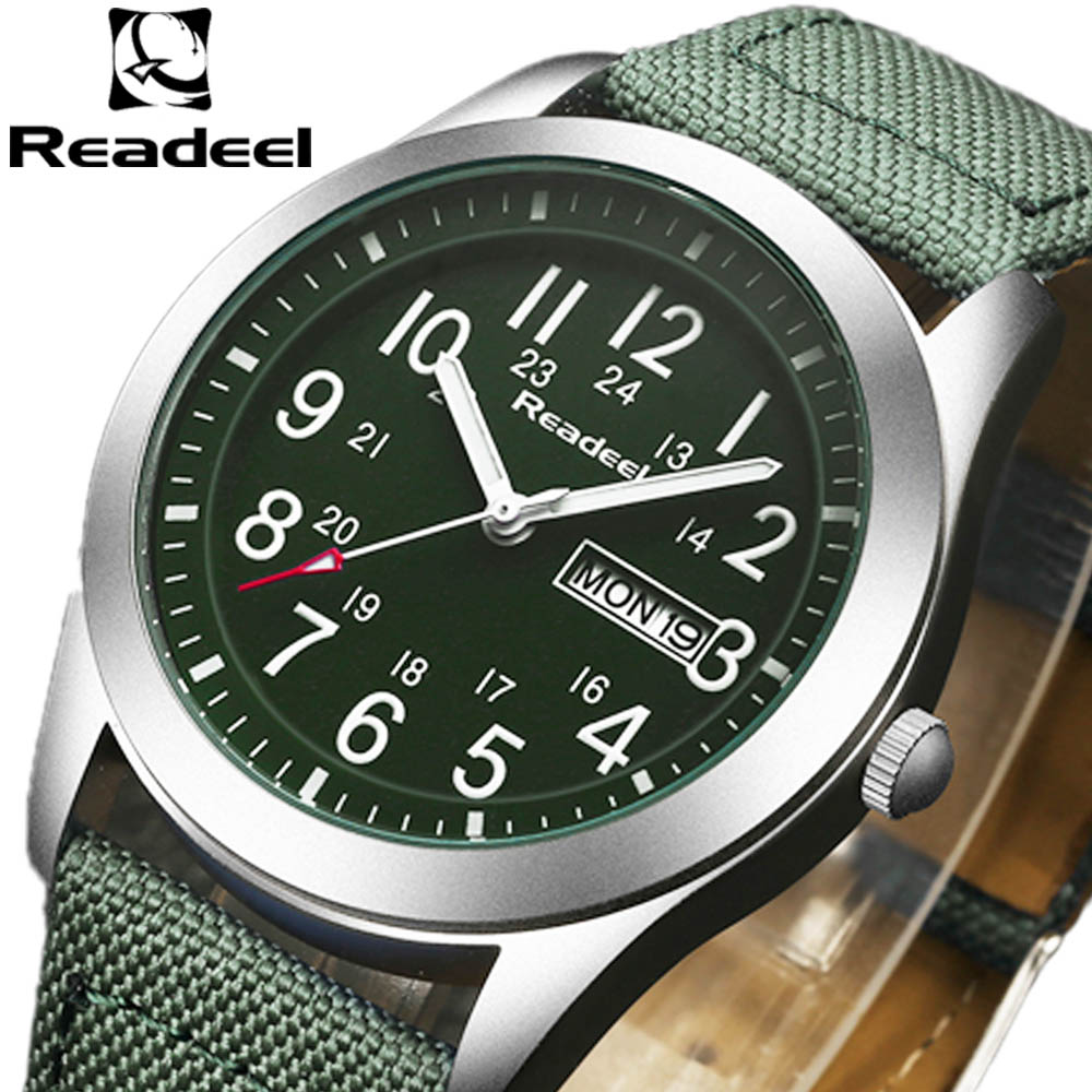 2017 NEW Luxury Brand Readeel Mænd Sportsure Mænds Quartz Klokke Man Army Military Canvas Strap Armbåndsur Relogio Masculino