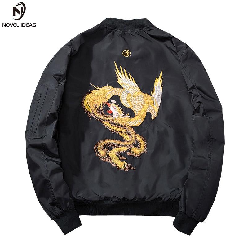 2018 New Embroidered Phoenix Bomber Jacket Mens Coat Chinese style Jacket Coat Autumn Fashion Mens Bomber Jacket