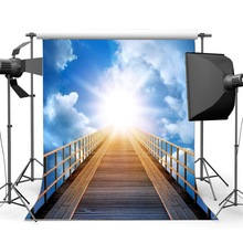 Staircase to Heaven Backdrop Celestial Stairway Holy Lights Backdrops Blue Sky White Cloud Background