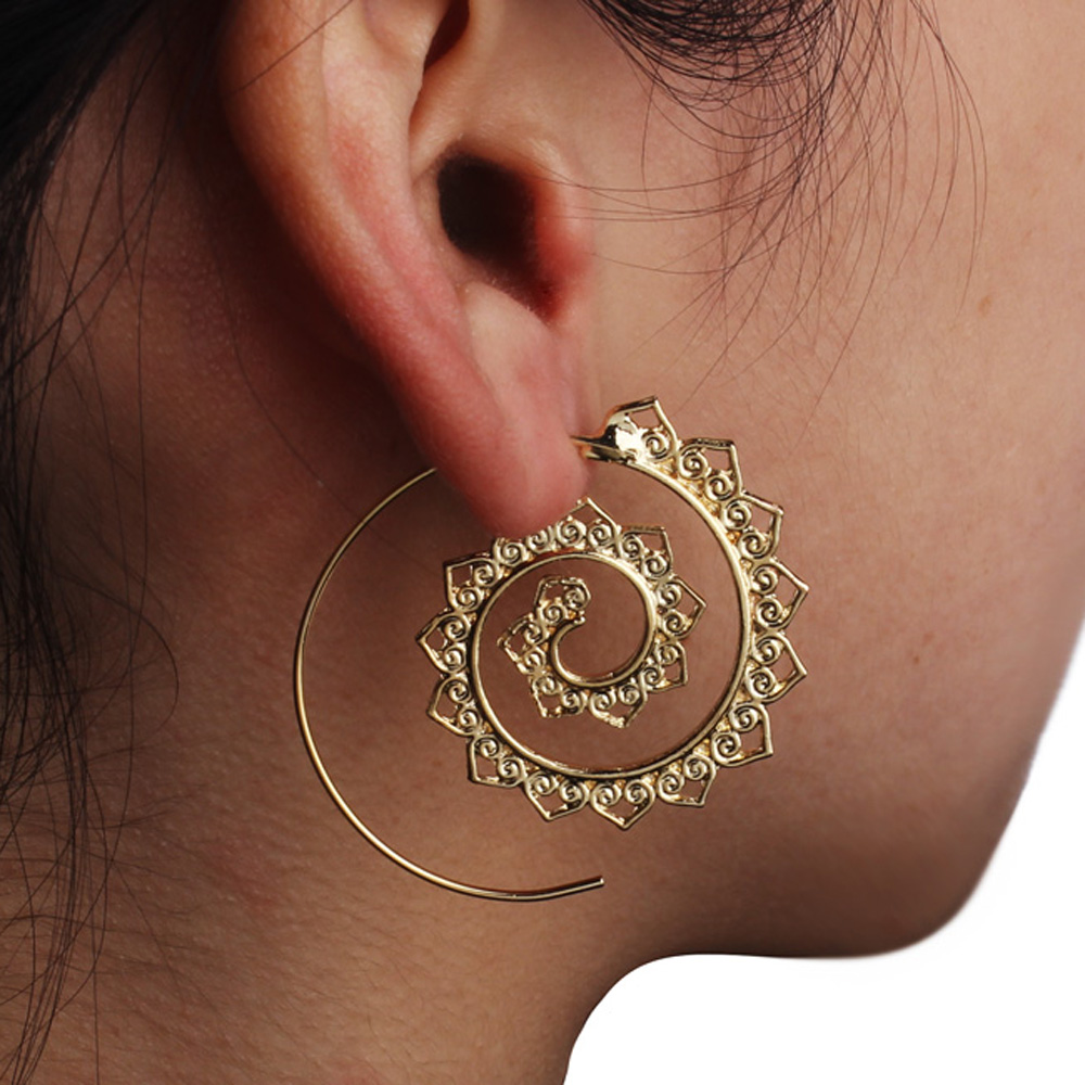 Vintage Bohemian Gold/Silver Color Hollow Big Statement Hoop Earrings for Women Ear Rings Earring Hoops Indian Jewelry золотые серьги по уху