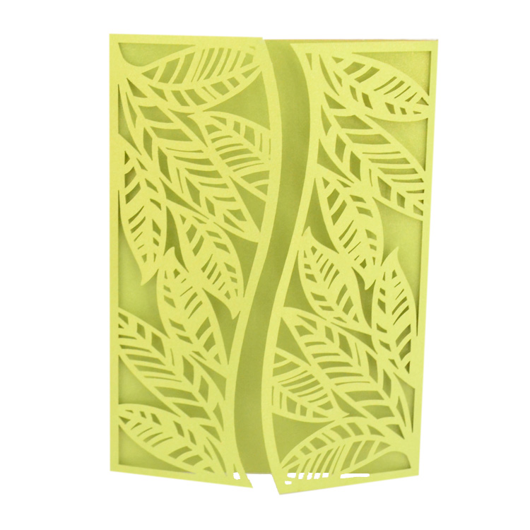 Apple Green Wedding Invitations: Tree Leaves Laser Cut Apple Green Invitation Cards For