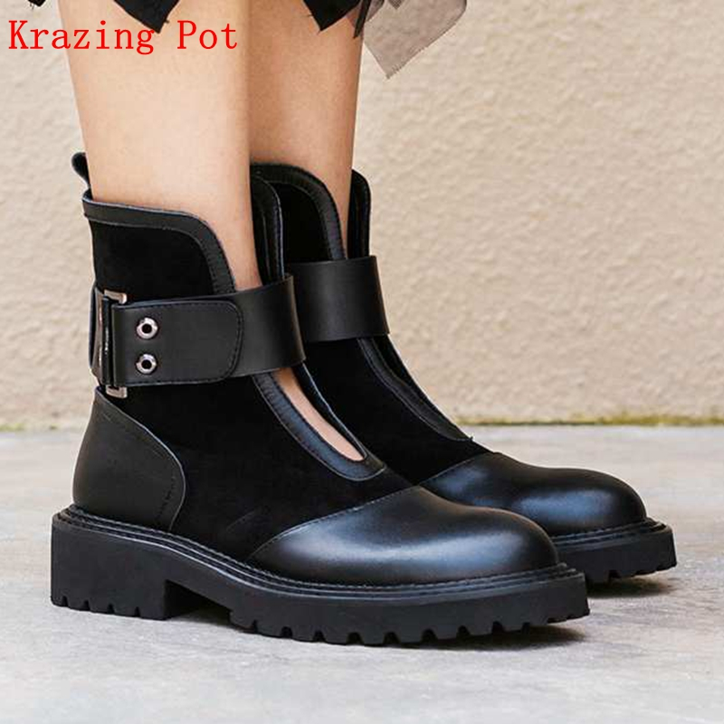 Krazing Pot 2019 genuine leather med heels round toe British school Western cowboy boots luxury riding rivets ankle boots L10