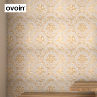 European Style Gilt Luxury Large Floral Damask Wallpaper Carved Embossed Texture Vinyl PVC Wall Paper For