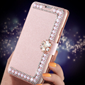 Moda glitter pérola buckle capa para samsung galaxy s7 s7 edge s6 s6 Mais borda S4 S5 Nota 4 5 Silk Padrão Virar Caso de Telefone Saco