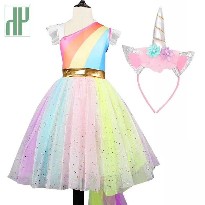 Kids dresses for girls Unicorn Tutu Dress Rainbow Princess dress girls costumes Kids Birthday Party Cosplay Costume 2 6 7years day dress
