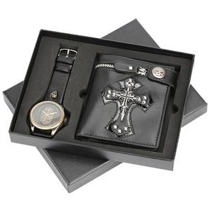 Image 1 - גברים שעון עמיד למים רצועת עור קוורץ שעון יד פאנק סגנון צלב רוכסן ארנק חג המולד מתנת סט לבעל עבור אבא