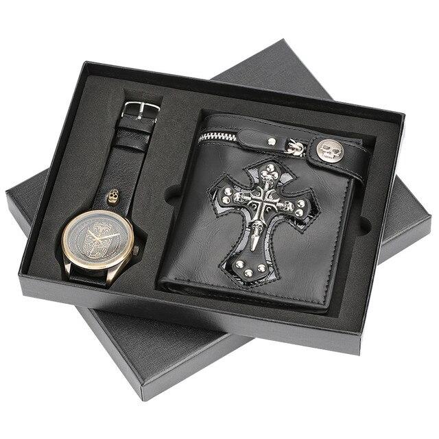 גברים שעון עמיד למים רצועת עור קוורץ שעון יד פאנק סגנון צלב רוכסן ארנק חג המולד מתנת סט לבעל עבור אבא