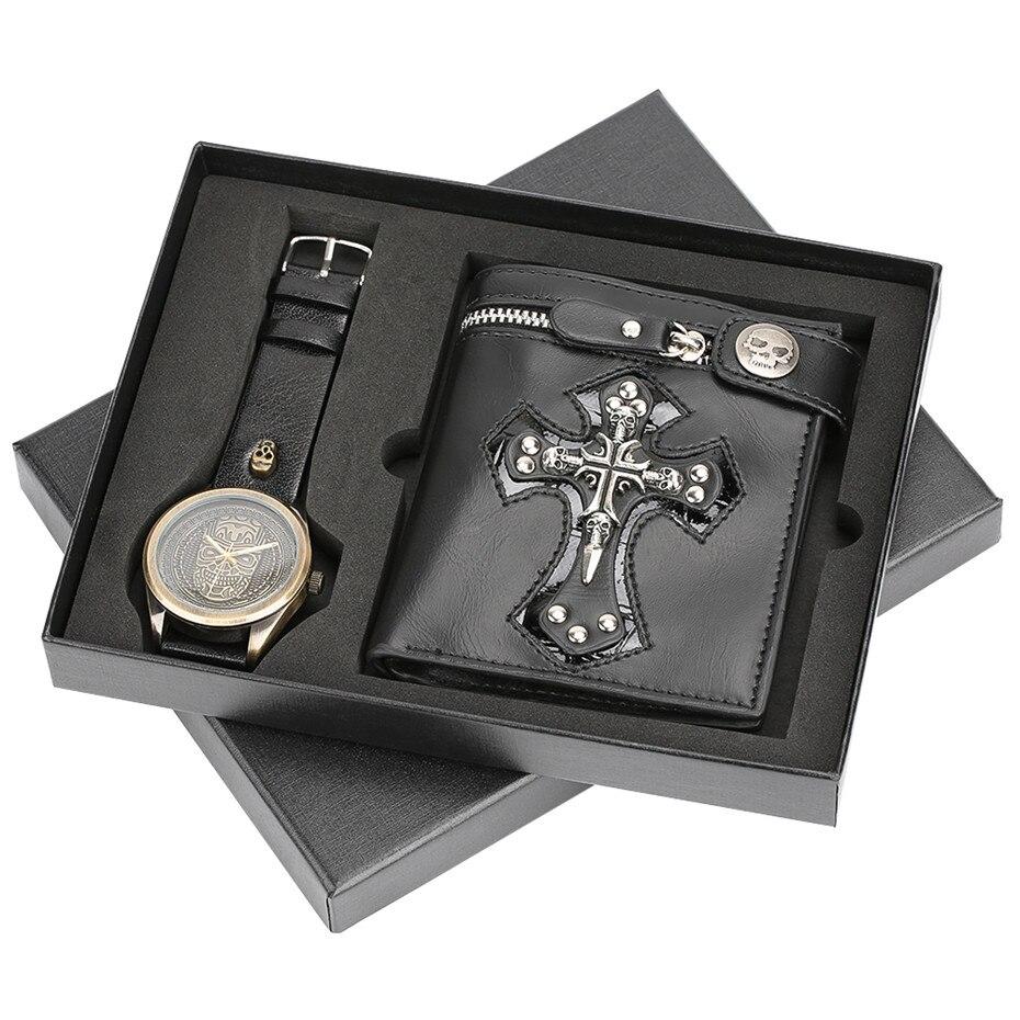Quartz Wrist Watch Waterproof Leather Band Men Watch Punk Style Cross Zipper Wallet Retro Gift Set for Husband for Dad все цены