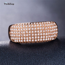 Visisap Luxury Icedout Full Zircon Rings for Women Rose Gold Color Party Gifts Ring Jewelry Accessories Dropshipping B1001 925 silver jewelry diamond rings rose gold costume jewelry topaz vintage luxury ladies zircon ringen black ring tungsten b1001