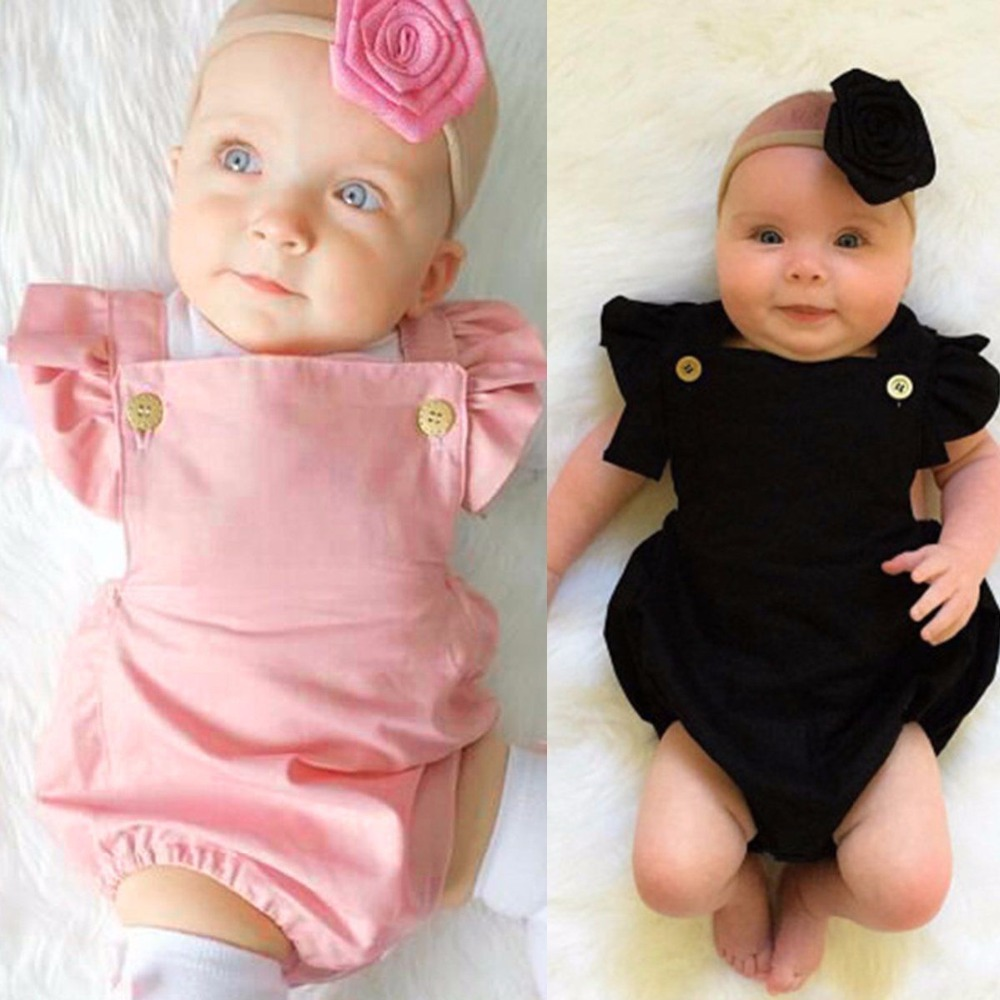 Puseky 2017 0-18M Newborn Baby Girl   Romper   Clothes Summer Ruffled Sleeve Solid Bebes   Rompers   Toddler Jumpsuit Outfits Sunsuit