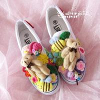 New Handmade Customized Women's Original Japanese Hook Flower Rainbow Yuansui Ca Lazy shoes